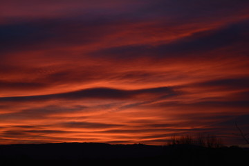 Fototapeten Kastanienbraun Scenic View Of Silhouette Landscape Against Orange Sky