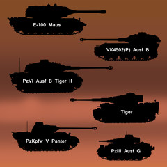 Set of silhouettes of German tanks of World War II. WoT