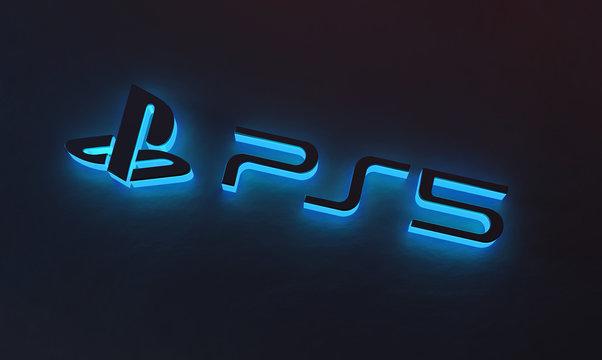Playstation 5 Blue Glow on Dark Background