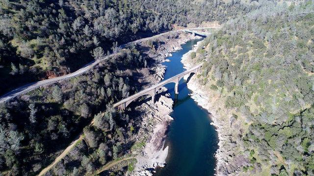 Aerial photo of bridges and river