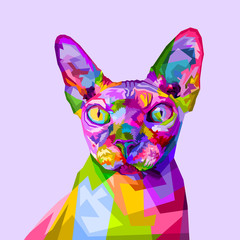 colorful sphynx cat on pop art style