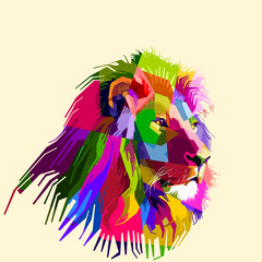 colorful lion head on pop art style . vector illustration