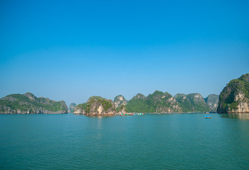 Halong Bay, beautiful dramatic and calm in morning light.