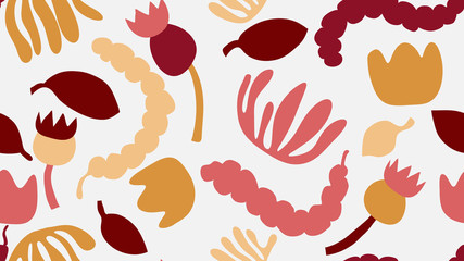 Doodle seamless pattern, various hand drawn flowers and leaves in red and brown on light grey