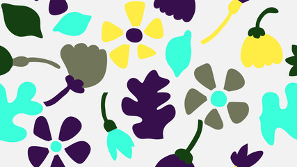 Doodle seamless pattern, various hand drawn flowers and leaves in blue and yellow on light grey