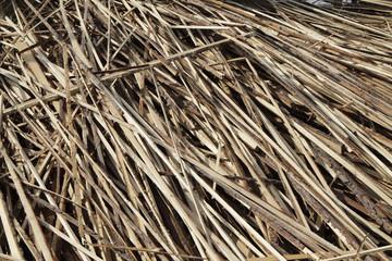 Wooden slats in a heap.