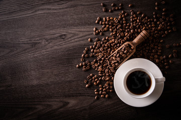Keuken foto achterwand Cafe ホットコーヒーとコーヒー豆