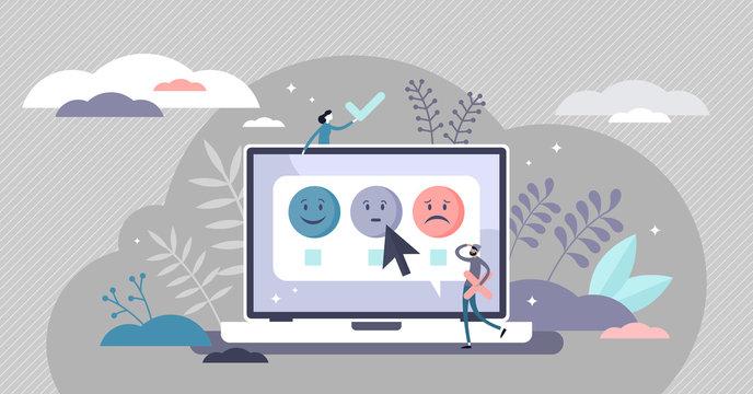 Survey feedback concept, flat tiny persons vector illustration
