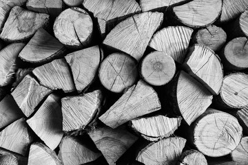 Keuken foto achterwand Brandhout textuur Dry firewood in barn.