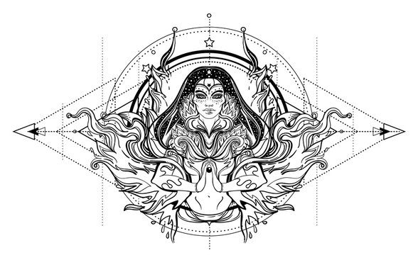 Asian magic woman with sacred geometry and fire. Vector Illustration. Mysterious thai girl over mystic symbols and flames. Alchemy, religion, spirituality, occultism, tattoo art, Asian culture.