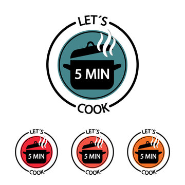 Cooking Time Icon Set - 5 Minutes Vector Button Food Concept - Restaurant Logo Isolated On White Background