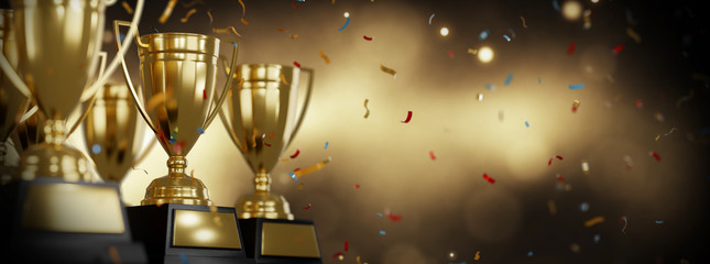 Golden trophy cup on gold background. copy space for text. 3d rendering.