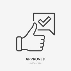 Obraz Thumb up line icon, vector pictogram of approve. Best choice illustration, sign for vote - fototapety do salonu