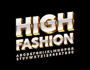 Vector High Fashion White and Golden Font. Glamour shiny Alphabet Letters and Numbers