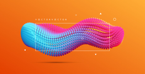 Abstract background with dynamic particles. 3d vector illustration for science or design.