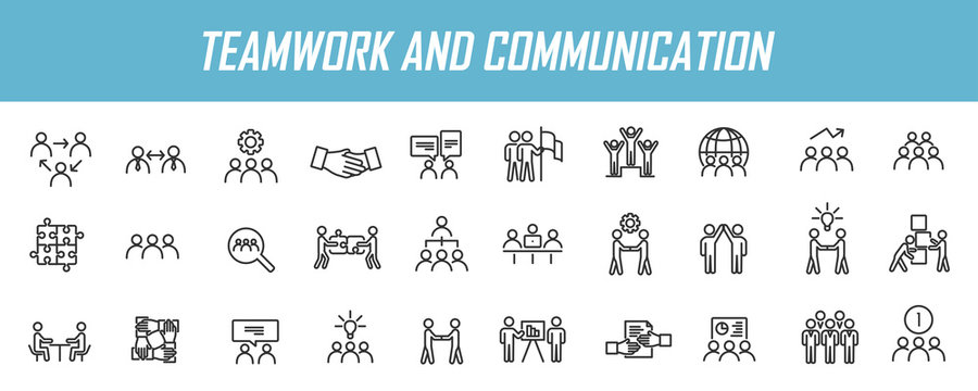 Set of linear teamwork icons. Communication icons in simple design. Vector illustration