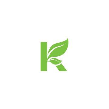letter K with leaf logo vector