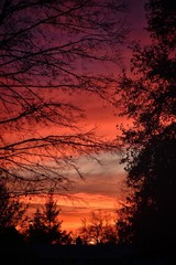 Fototapeten Kastanienbraun Silhouette Landscape Against Dramatic Sky During Sunset