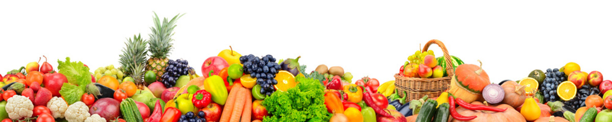 Wall Mural - Wide panoramic photo fruits, vegetables, berries for your layout isolated on white