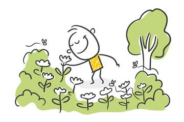 Strichfiguren / Strichmännchen: Natur, Blumen, Garten, riechen. (Nr. 503)