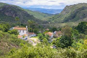 View to idyllic Biribiri Valley and abandoned village on a sunny day, Biribiri State Park, Minas Gerais, Brazil