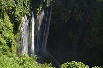 Beautiful autumn landscape waterfall in indonesia