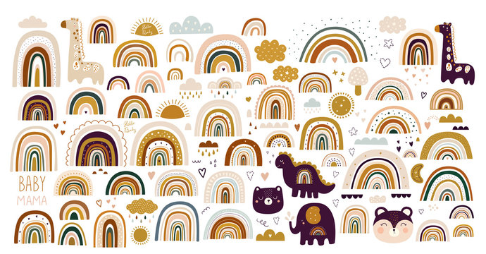 Decorative abstract art collection with modern rainbows, funny animals baby and clouds. Hand-drawn modern illustration. Baby trendy decorative collection