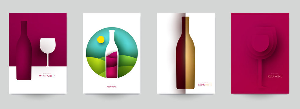 Collection colorful template cover for wine. Abstract art composition in modern geometric papercut style. Minialistic concept design for branding banner, flyer, book, menu, card. Vector illustration.