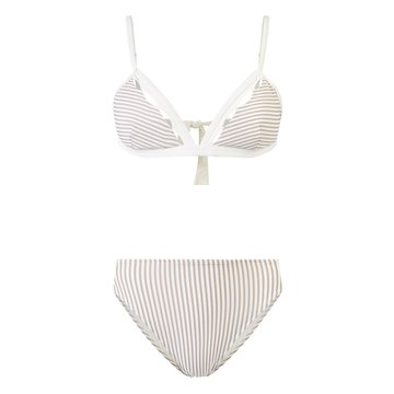 Striped two-piece swimsuit under the lights isolated on a white background