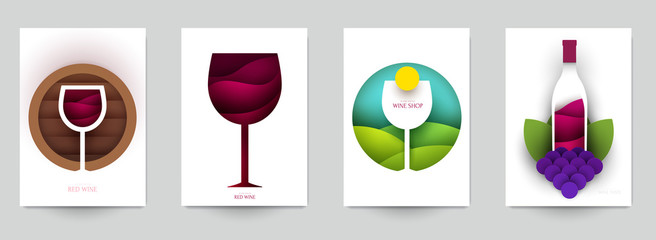 Collection colorful template cover for wine. Abstract art composition in modern geometric papercut style. Minialistic concept design for branding banner, flyer, book, menu, card. Vector illustration. Fototapete
