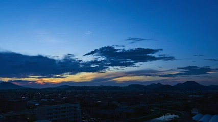 Wall Mural - 都市風景 タイムラプス 夕暮れ