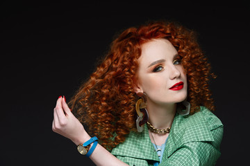 portert girl with curly red hair