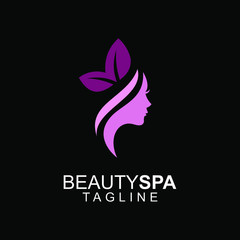 women face beauty spa saloon pink logo icon design vector