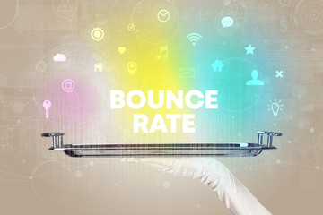 Waiter serving social networking with BOUNCE RATE inscription, new media concept