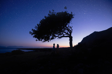 Silhouette of couple with night scene milky way background in the galaxy. under tree. Romantic star night shot