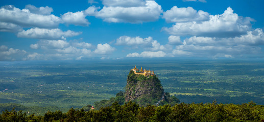 Fototapeta Mt.Popa os Mount Popa Myanmar, Beautiful buddhist Burmese landmark temple ancient building architecture in Asian, Burmese mythology ghost this place is the old volcano, Mandalay, Myanmar, Asia.