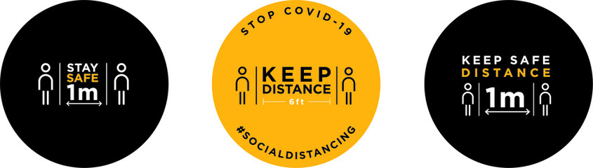 Keep distance signage icon Fotobehang