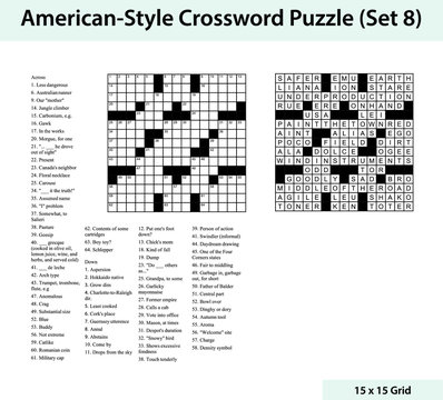 American style crossword puzzle with a 15 x 15 grid. Includes blank crossword grid, clues, and solution.