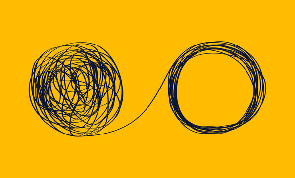 concept icon showing the unraveling of a tangled line. metaphor for a mentor or coach in problems business