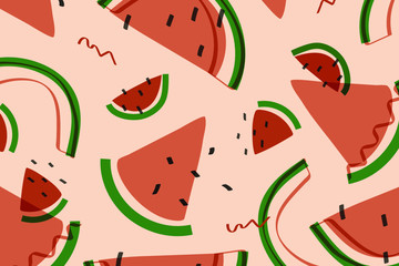 Tropical watermelon fruit pattern vector