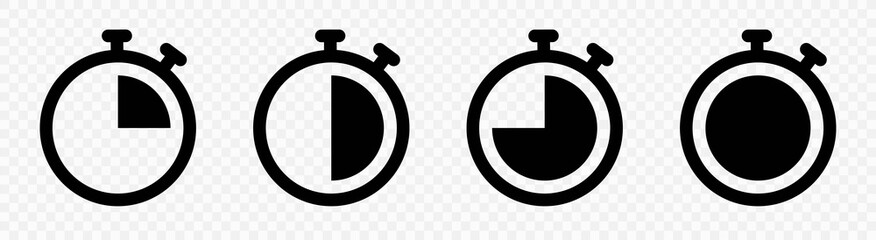 Timer icon collection. Symbol timer on a white background. Set of Timer vector icons.Set of timer and stopwatch icons. Cooking time symbols and labels