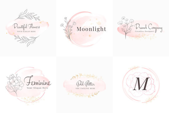 Feminine logos collection, hand drawn modern minimalistic and floral and watercolor badge templates for branding,  identity, boutique, salon vector