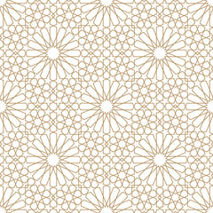 Seamless arabic geometric ornament in brown color.Average thickness lines.