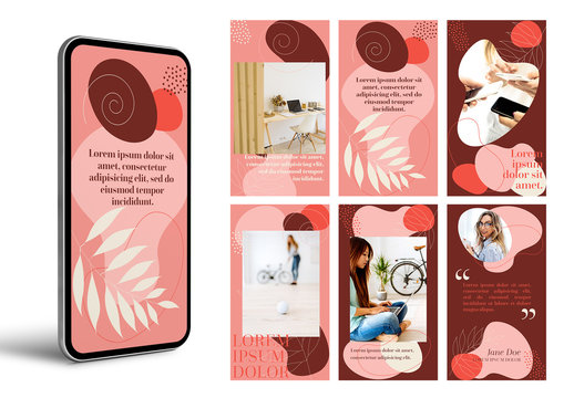 Hand Drawn Floral Social Media Stories Layout Set