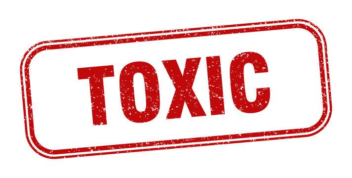 toxic stamp. toxic square grunge sign. label