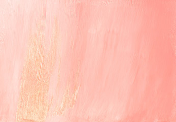 Feminine glamorous dusty pink abstract painted background texture with shiny metallic golden brush...