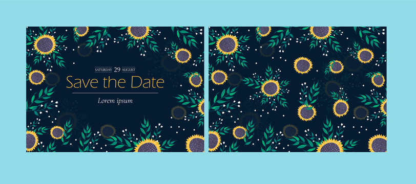Set of two cards in A5 format. Front and back of the invitation. Floral arrangement with sunflowers and plants on a dark background. Free copy space for subtitles, title or names. Ornate template.