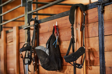 Equestrian equipment weighs on the fence. Equestrian theme Papier Peint
