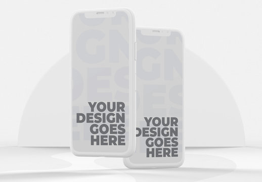 Front View White Clay Smartphone Mockup