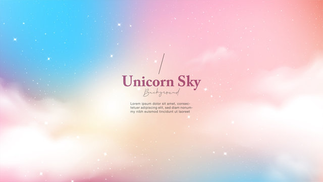 Background abstract unicorn galaxy light with star and cloud